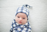 Blue Gingham Swaddle Blanket And Newborn Hat Set