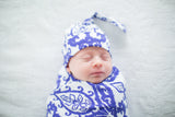 Brie Swaddle Blanket & Matching Newborn Hat Set