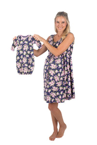 Eve Floral 3 in 1 Maternity Labor Delivery Nursing Gown & Matching Newborn Romper Set