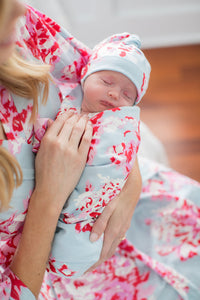Mae Floral Baby Swaddle Blanket and Newborn Hat Set