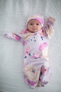 Anais Floral Baby Coming Home Outfit and Matching Newborn Hat