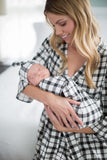 Black Gingham Delivery Robe & Matching Swaddle Blanket & Hat