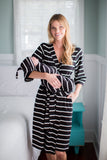 Black Striped Delivery Robe with Matching Swaddle Blanket & Hat