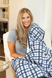Blue Gingham Adult Size Minky Blanket