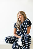 Navy Stripe Adult Size Minky Blanket