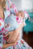 Isla Floral Swaddle Blanket and Matching Newborn Hat Set
