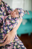 Eve Floral Swaddle Blanket and Matching Newborn Hat Set