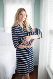 Navy Striped Maternity Nursing Nightshirt And Baby Receiving Gown Set