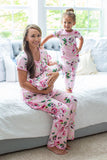 Amelia Mom Pajamas & Big Sister Pajamas & Matching Swaddle Blanket Set
