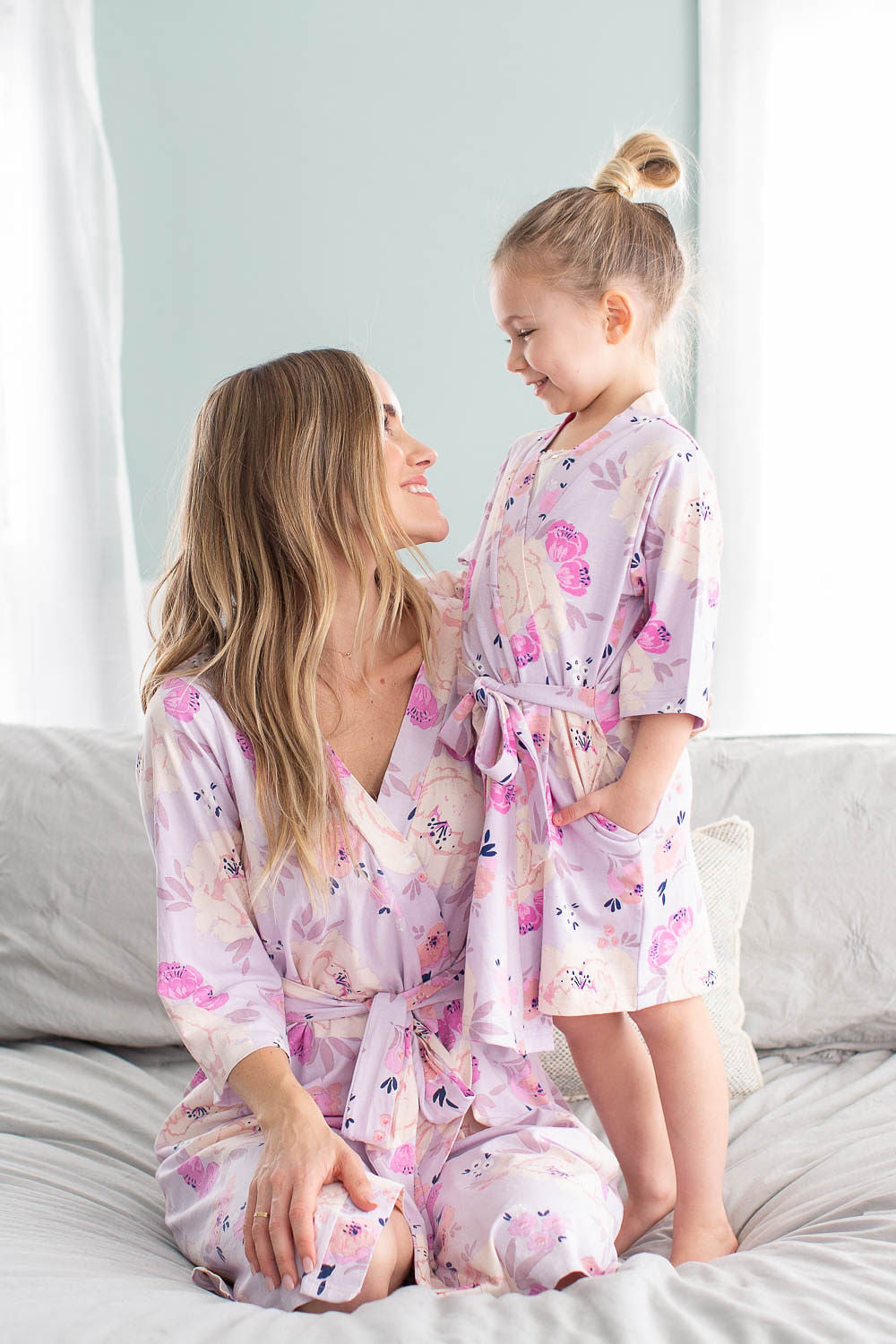 535037a458ca5 Anais Floral Mommy and Me Robe Set Mom & Daughter Big New Sister ...
