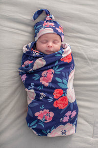 Annabelle Floral Swaddle Blanket & Matching Newborn Hat Set