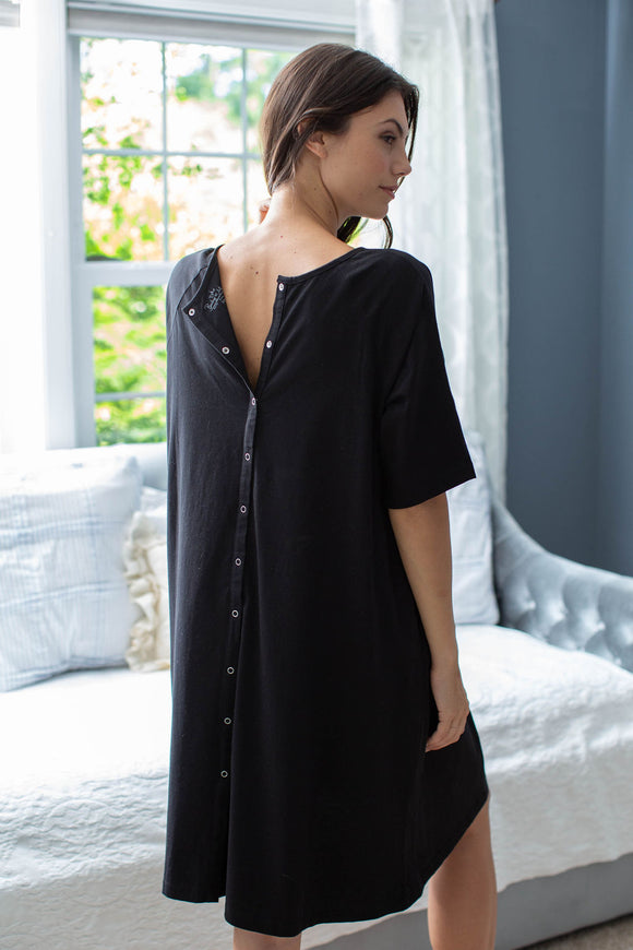 Black Jersey Knit Hospital Gown Gownie