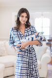 Blue Gingham Delivery Robe and Whale Swaddle Blanket Set
