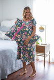 Charlotte Maternity Labor & Delivery Hospital Gown  & Matching Pillowcase Set