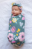 Charlotte Floral Swaddle Blanket and Newborn Headband Set