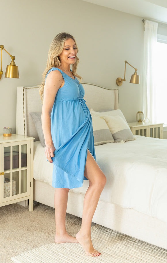 Sky Blue Labor & Delivery Birthing Gown