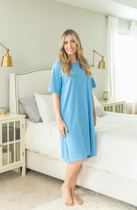 Sky Blue Jersey Knit Hospital Gown Gownie
