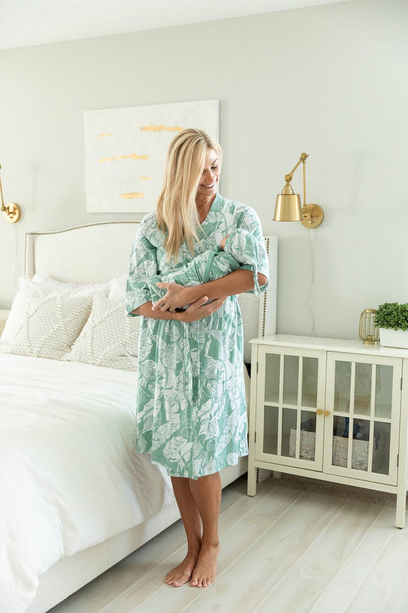 Marie Delivery Robe & Matching Baby Swaddle Blanket Set