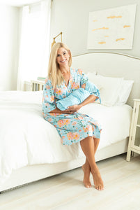 Jade Delivery Robe & Light Blue Swaddle Blanket Set
