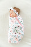 Ivy Robe & Matching Baby Girl Swaddle Blanket Set