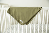 Olive Green Robe & Matching Baby Swaddle Blanket Set