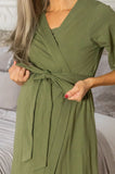 Olive Green Delivery Robe & Hadley Baby Girl Swaddle Blanket Set