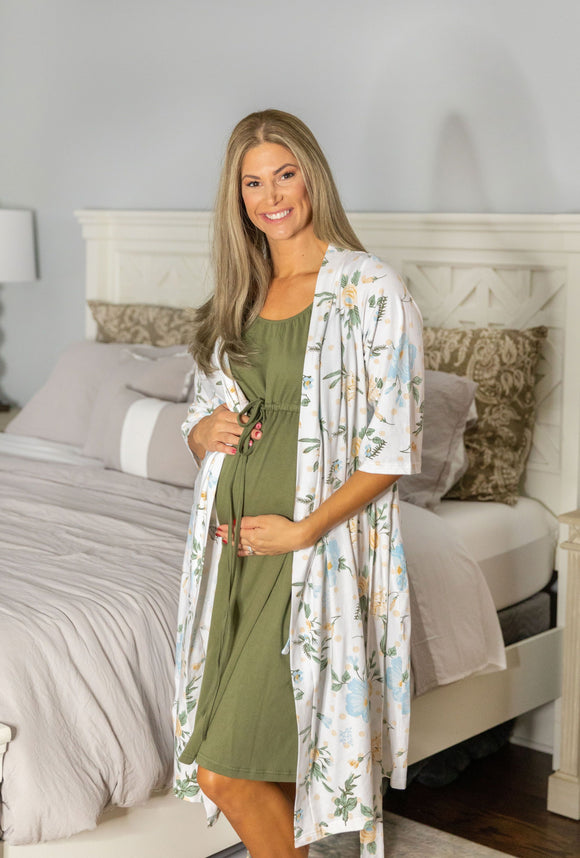 Hadley Robe & Olive Green Labor Gown Set