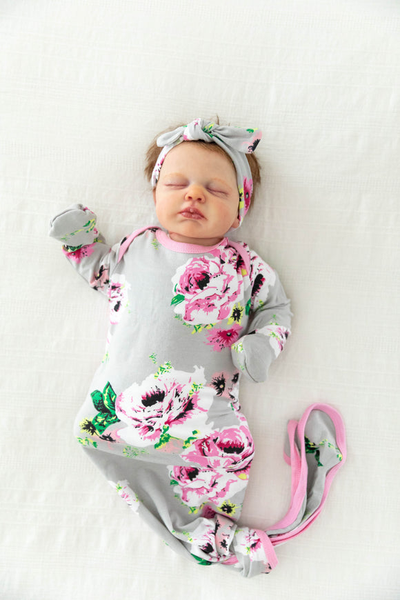 Olivia Knotted Baby Girl Gown & Headband Set
