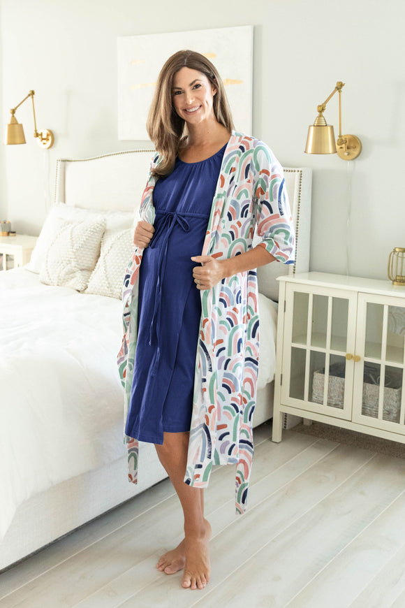 Rainbow Robe & Navy 3 in 1 Labor Gown