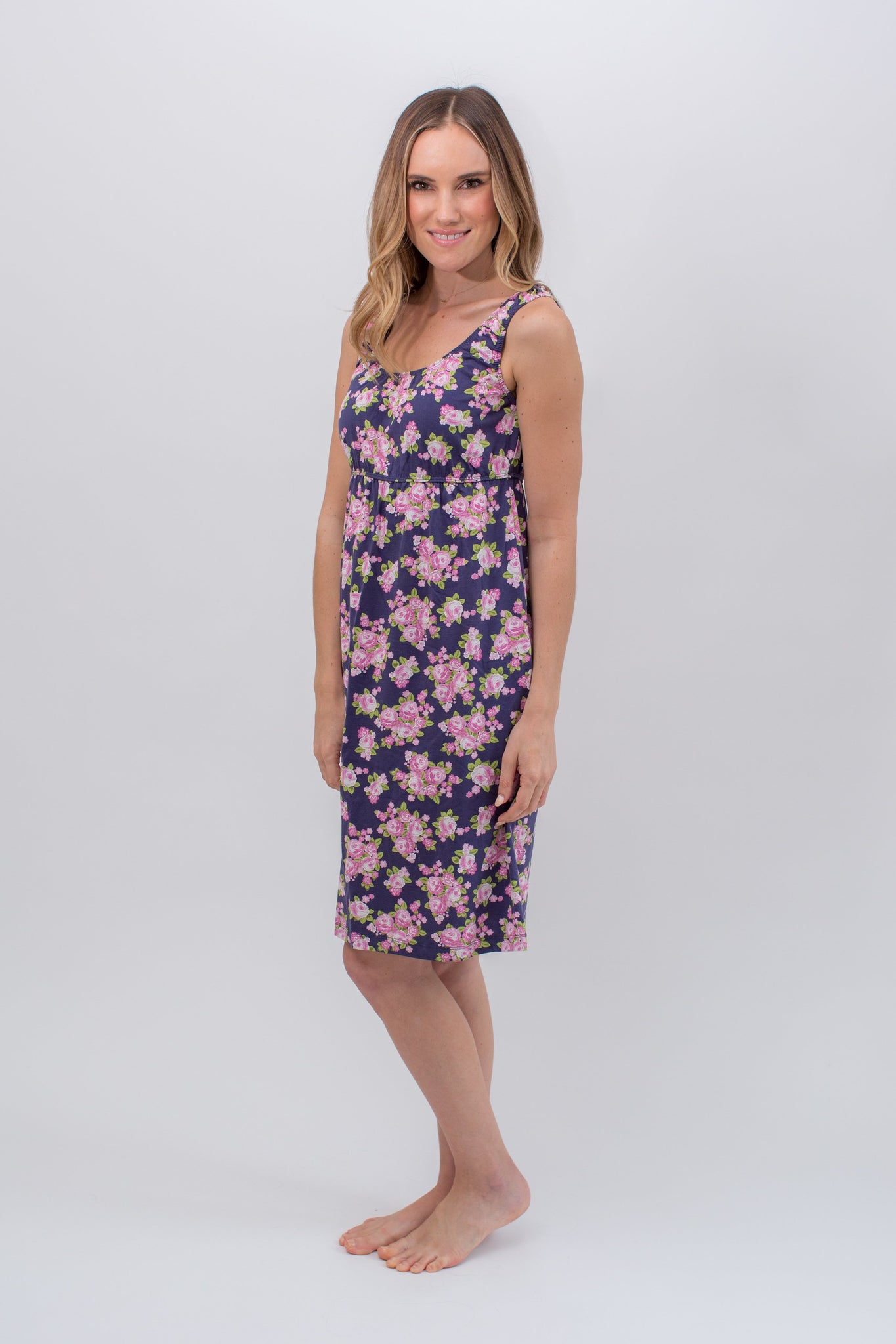 Eve Floral 2 in 1 Maternity/Nursing Sleeveless Nightgown – Gownies
