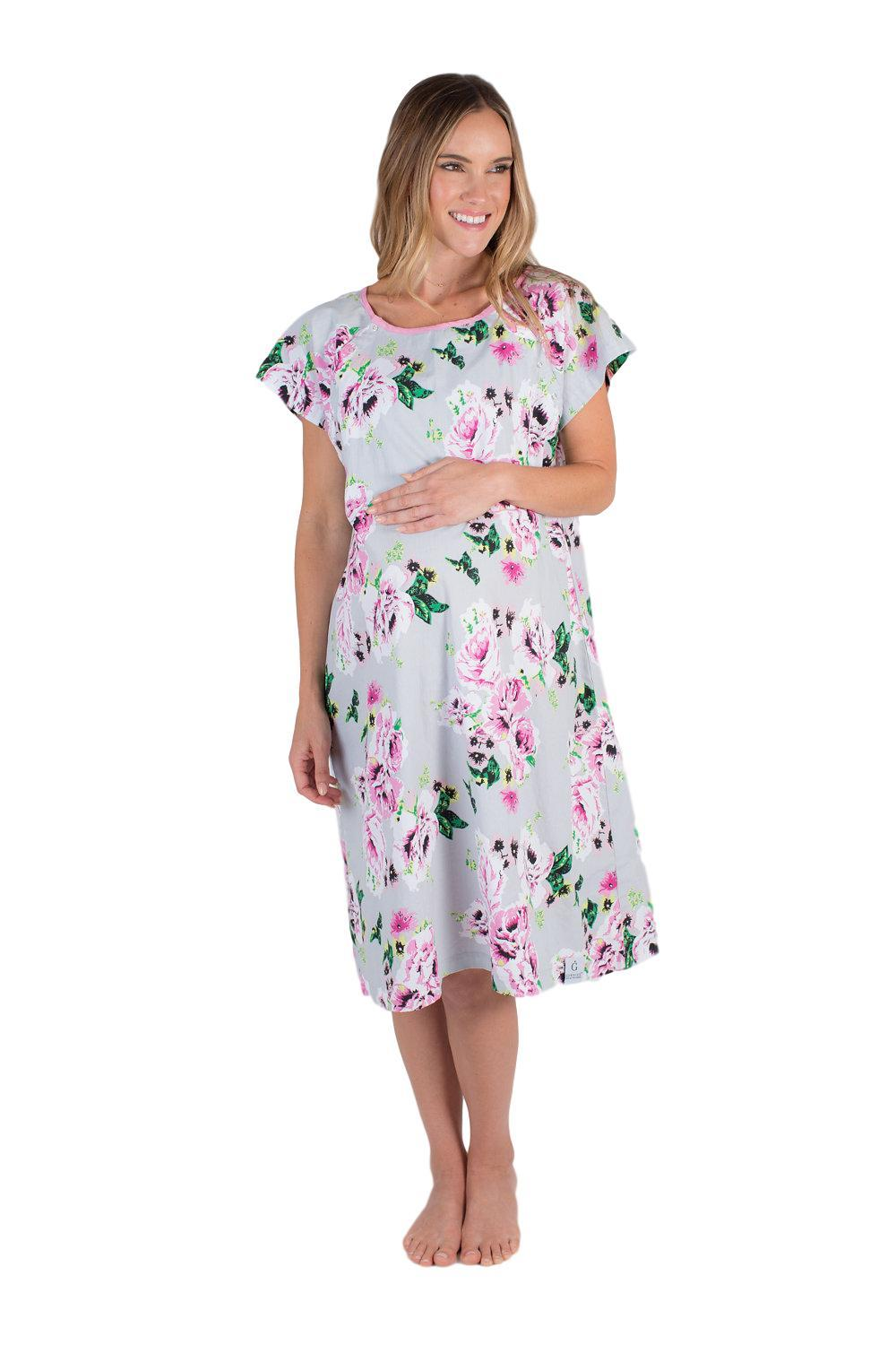 Olivia Floral Maternity Delivery Hospital Gown Gownie & Delivery ...