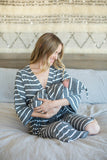 Grey Striped Robe & Matching Swaddle Blanket Set