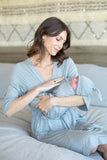 Light Heather Grey Robe & Matching Swaddle Blanket set