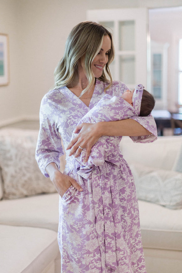 Mommy and me mother and baby girl matching robe and swaddle pretty set