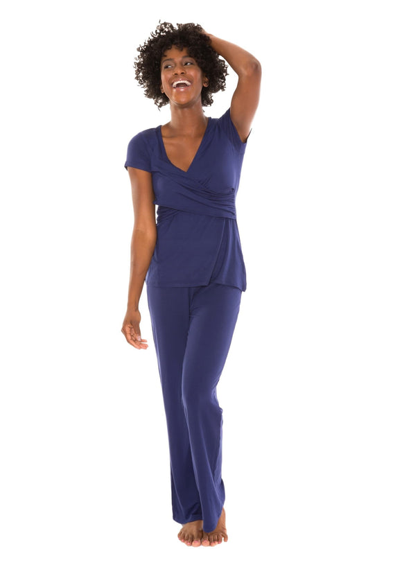 Maternity/Nursing Nightwear Pajama Lounge Set Blue