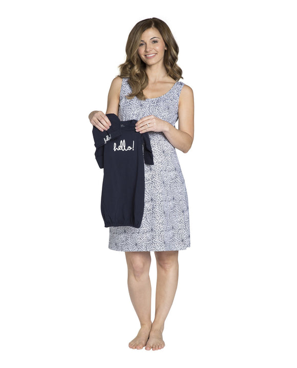 Harper Maternity/Nursing Nightgown & Matching Navy Baby Romper Set