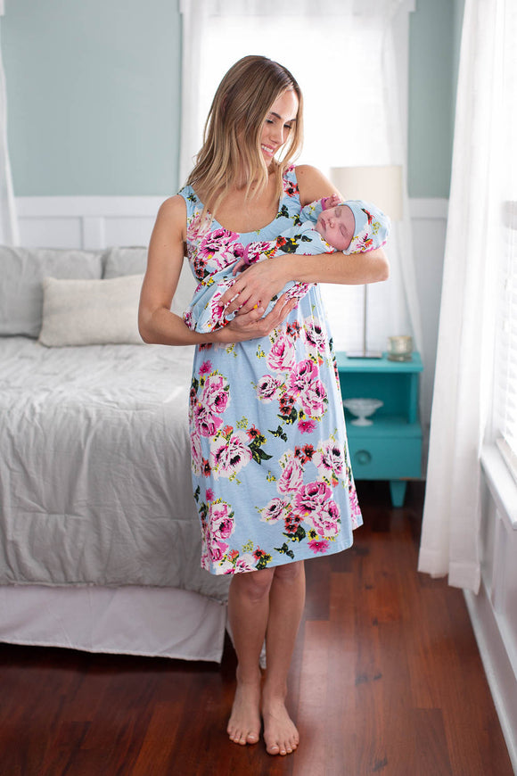 Isla Maternity Nursing Nightgown & Baby Gown Set