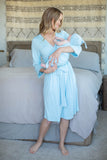 Light Blue Robe & Matching Swaddle Blanket Set