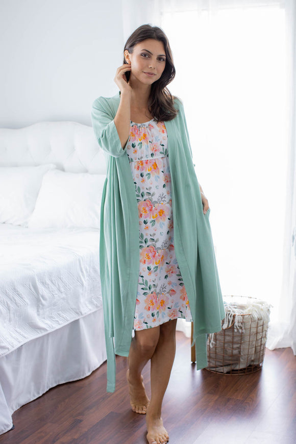 Sage Robe & Mila Maternity Nursing Nightgown