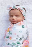Mila Swaddle Blanket & Matching Newborn Headband Set