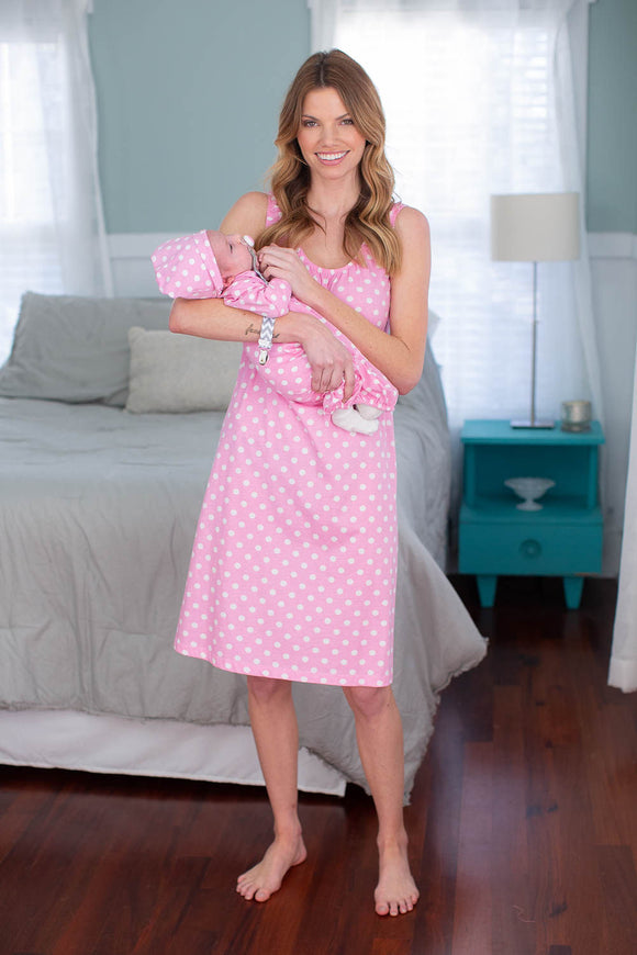 Pink Polka Dot Nursing Nightgown & Matching Baby Gown Set, Mommy & Me