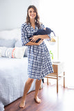 Blue Gingham Delivery Robe and Navy Swaddle Blanket Set