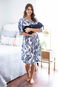 Serra Robe with Navy Swaddle Blanket & Hat Set