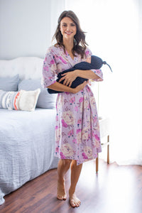 Anais Maternity Delivery Nursing Robe & Navy Blue Swaddle Blanket Set