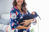 Annabelle Delivery Robe & Navy Blue Swaddle Blanket Set