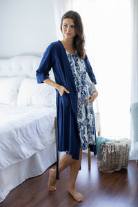 Serra 3 in 1 Labor Gown & Solid Navy Blue Robe