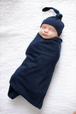 Rainbow Delivery Robe & Navy Swaddle Blanket Set