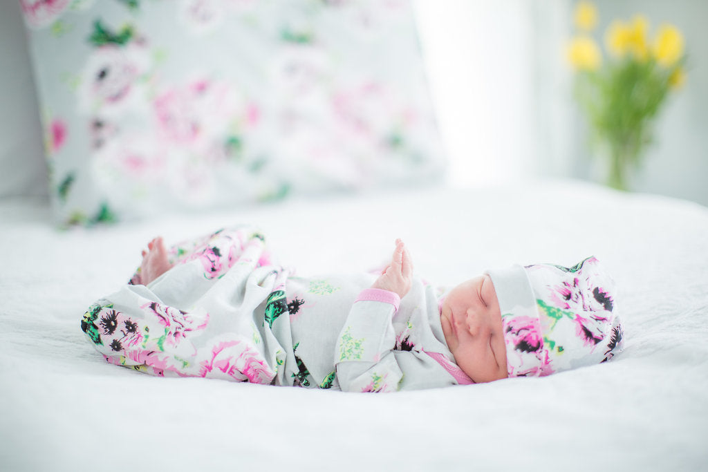 9cc7988e734 Olivia Floral Baby Coming Home Outfit and Matching Newborn Hat Set 2pc.