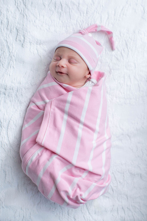 Pink Striped Baby Swaddle Blanket Set