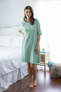 Sage Green Jersey Knit Hospital Gown Gownie